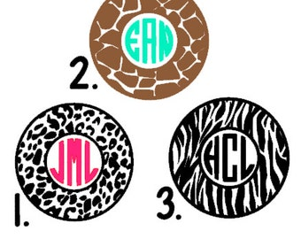 GIVE Fundraising Monogram Decals-  Cheetah Print Monogram, Giraffe Print Monogram, Zebra Print Monogram, GLITTER available!