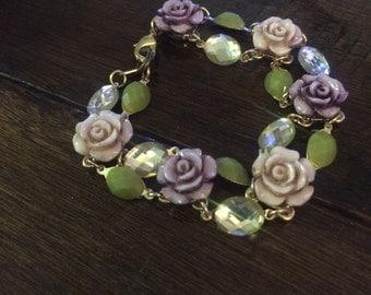 Green pink purple yellow rose bracelet