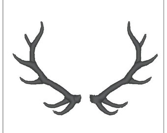 Deer antlers monogram embroidery pattern 4 inch download for Machine Embroidery