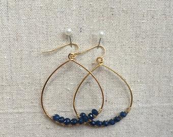 Teardrop Gold Hoops - Gold Earrings