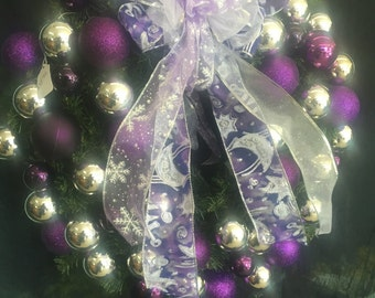 Purple and Silver Christmas Wreath