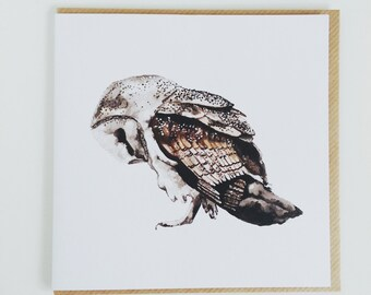 Bowing Owl Square Greeting Card