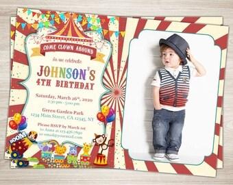 Circus Birthday Invitation 1st Birthday Circus Birthday Party Invitation Boy first Carnival Birthday Invitation Printable Photo Invitation