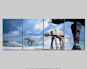 AT-ATs  (Star Wars: Episode V - The Empire Strikes Back) 4 Panel Stretch Canvas nTych Print (Signed and Dated)