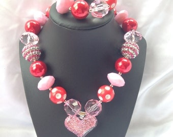Valentine's pink & red heart bubble gum necklace