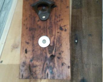 Wall mounted bottle opener - Dark oak