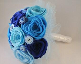 Blue Felt and Button Wedding Bouquet, Alternative Bouquet, Keepsake Bouquet