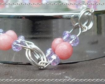 Rose Quartz with purple glass beads