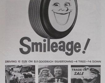 1958  B.F. Goodrich Tire ad.  B.F. Goodrich Silvertown Tires.  Black and white.  Vintage tire ad.