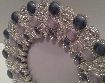 Blue and silver bling frame