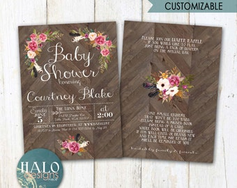 Floral Rustic Baby Shower Invitations, Bridal Shower Invitation, printable