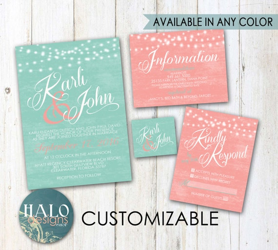 mint wedding invitations mint amp coral wedding invitations invitation kit thank you 5958