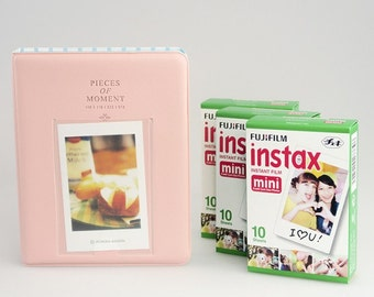 Set of 1 Pink Photo Album and 3 Fujifilm Instax Mini White Films for Mini 70, 8, 7s, 25, 50s, 90, SP-1 and Polaroid PIC 300