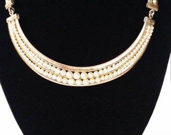 Vintage Gold Tone Faux Pearl Choker Necklace