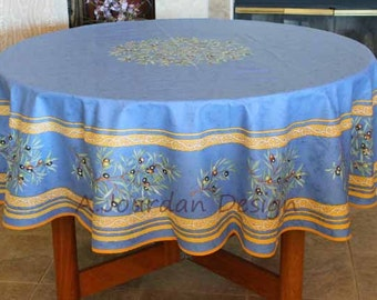 Elegant French Provence PETITE OLIVE BLUE Acrylic Coated Round Tablecloth   French  Oilcloth Indoor Outdoor Tablecloths