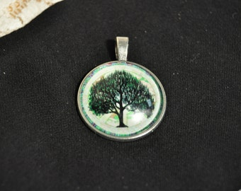 Green Tree Necklace Charm