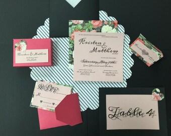Red & Pink Floral Wedding Invite Set