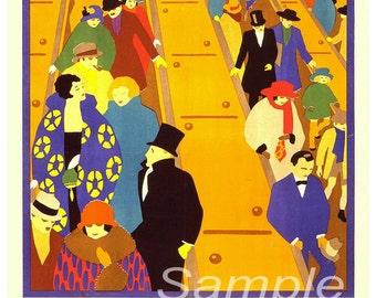 Vintage Brightest London 1924 Underground Poster Print