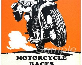 Vintage Motorcycle Races Poster Print