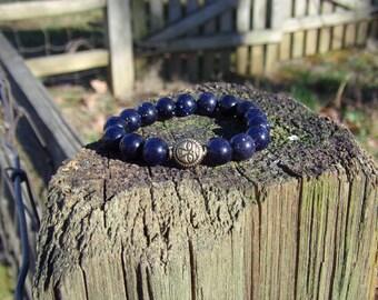 Unisex Blue GoldStone and Tibetan Face Charm Bead Bracelet Reiki Healing Chakra Balancing Gemstones Women's Men's Semi Precious