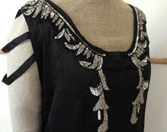 Vintage 1920s dress black silk satin sequinned and beaded Size medium large