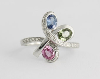 Sapphire Necklace Multi Color Sapphire Ring, Blue Green Pink Sapphire Ring 14k White Gold