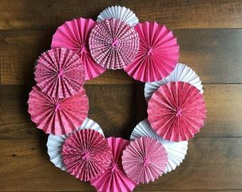 Pink Breast Cancer Awareness Paper Rosette Wreath