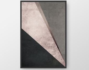 Printable Abstract Art, Modern Art, Purple Black Print, Geometric Art, Triangle Poster, Nordic Print,  Minimalist Print INSTANT DOWNLOAD