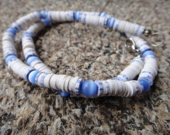 Vtg 70's Pukka Shell Necklace with MOP  White blue Surfer