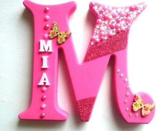 Freestanding 15cm bright girls initial & name