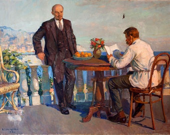 Large Realism painting.  Author V.Shepetovsky 1967, signed.  Oil Soviet painting.  Vladimir Lenin