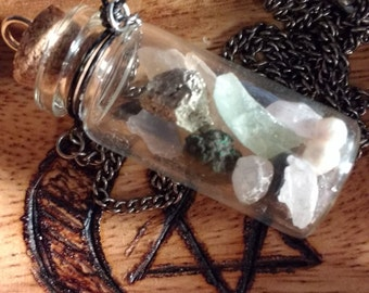 Bottle Necklace Filled with Stones