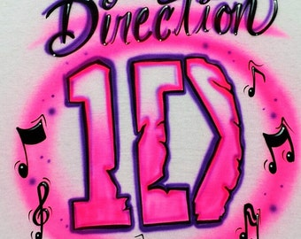 Airbrushed One Direction 1D T-Shirt Personalized