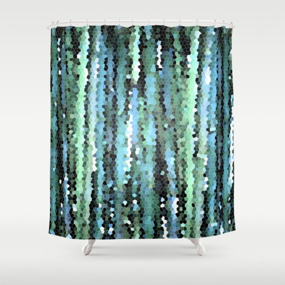 Items similar to blue green shower curtain abstract for Teal green bathroom accessories