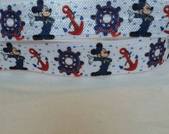 "3 yards, 5/8"" Mickey mouse with anchor and ship wheel design  elastic fold over."