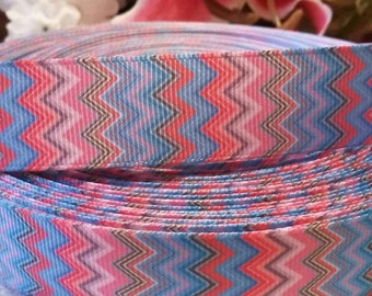 3 yards 1' multi colored chevron print grosgrain ribbon
