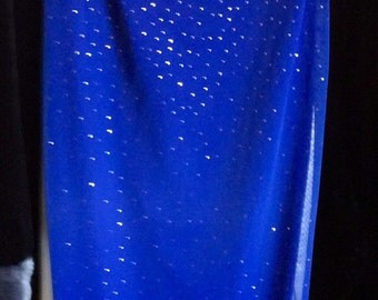Vintage Roberta Long Blue Evening Dress with Glitter Accents Size Large