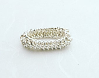 Simple silver ring, Sterling silver ring, Delicate silver ring, Chain link ring, Silver link ring, Chainmaille ring, Silver chain ring