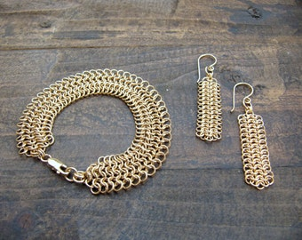 Set of Gold Chainmaille Bracelet and Earrings