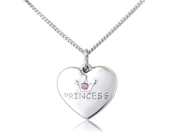 """Sterling Silver Pendant Heart And 18""""/45cm Chain Princess"""