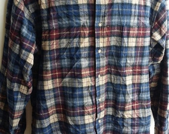 Vintage of 80s Wool Pendleton Shirt Long Sleeve Made in USA