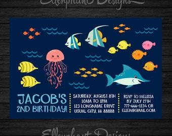Under the Sea Birthday Invitation, ocean, fish, 1st, 2nd, 3rd, 4th, first, party, kids, pool, custom invite, digital file, DIY Printable
