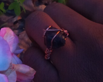 Amethyst and Copper Wire Wrap Ring