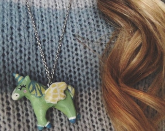 Green Winged-Unicorn Necklace