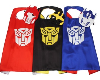 5 Sizes! - Transformer Cape,mask, Bumble Bee, Optimus Prime, Transformer party, Personalized Transformer Birthday, Transformer Party Favors