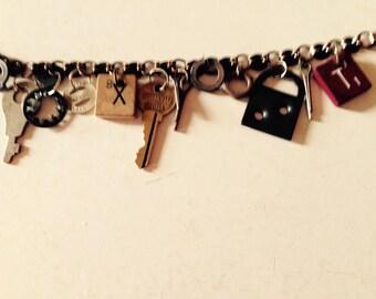 Steampunk industrial salvage charm bracelet