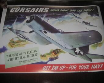 "WW2 Propaganda Poster Repro ""Corsairs"" WWII vintage"