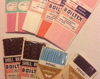 Vintage Bolitex Seam Binding and piping Vintage sewing supply lot 9 packages brand new in package