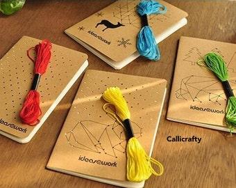 Cross Stitch Notebook - Cross Stitch String Rope Kraft Notebook