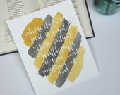 Hufflepuff motto, handmade watercolor // 8x10